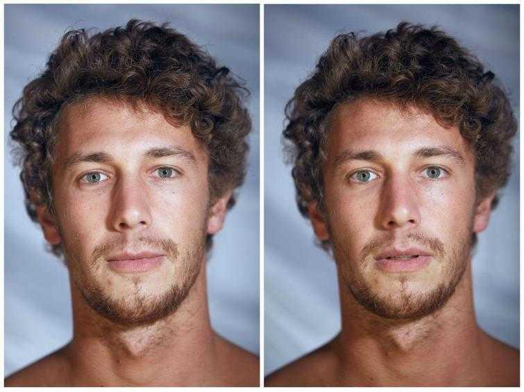 Как меняется выражение лица людей, когда их фотографируют в одежде и без неё
